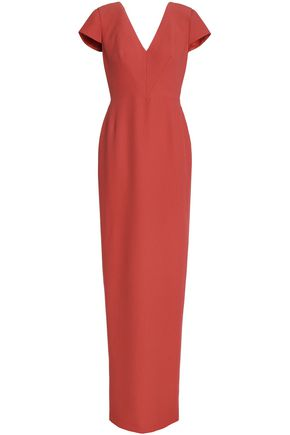 RAOUL Bow-embellished pleated crepe gown