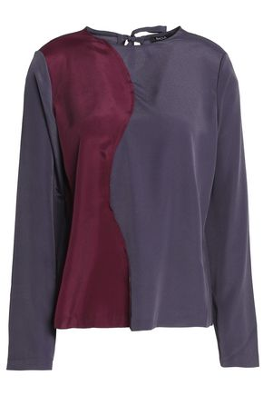 RAOUL Two-tone satin blouse