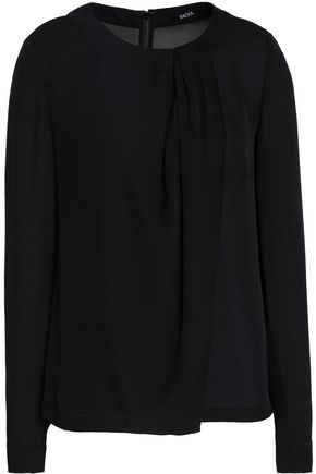 RAOUL Draped silk-crepe de chine blouse