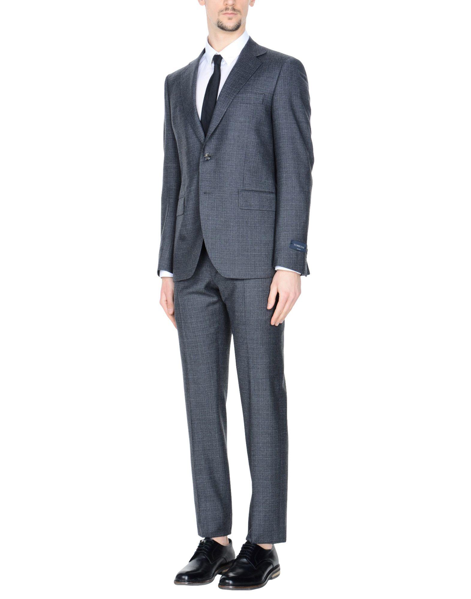 《送料無料》TOMBOLINI メンズ スーツ 鉛色 52 バージンウール 100%