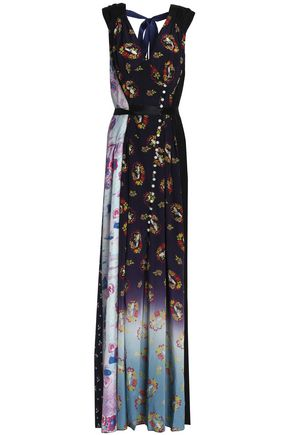 MARC JACOBS Wrap-effect embellished floral-print crepe de chine gown