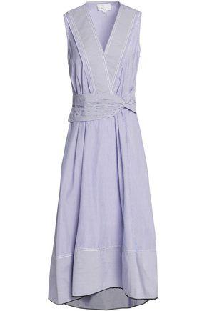 3.1 PHILLIP LIM Wrap-effect striped cotton-poplin midi dress