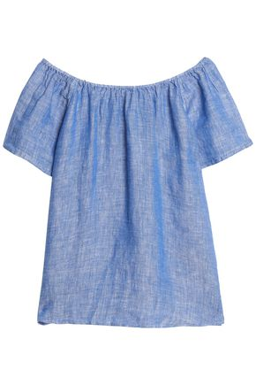 JOIE Amesti off-the-shoulder slub linen top