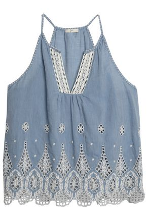 JOIE Broderie anglaise cotton-chambray top