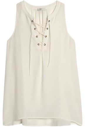 JOIE Lace-up silk crepe de chine top