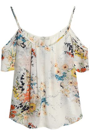 JOIE Cold-shoulder floral-print silk crepe de chine top
