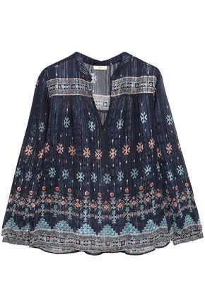 JOIE Sendoa printed metallic silk-blend chiffon top