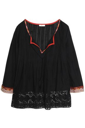 JOIE Crochet-trimmed embroidered cotton-voile blouse