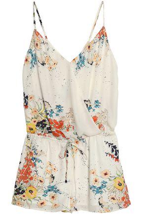 JOIE Jerrica wrap-effect floral-print silk crepe de chine playsuit