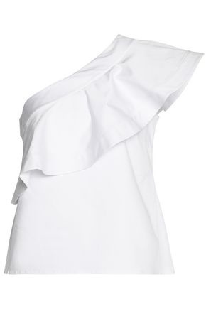 SALONI One-shoulder ruffled cotton-blend poplin top