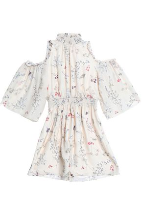 RACHEL ZOE Cold-shoulder floral-print silk crepe de chine mini dress