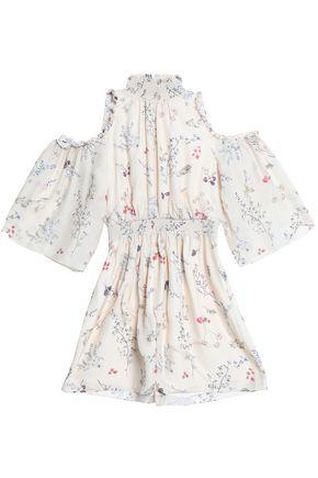 RACHEL ZOE Cold-shoulder floral-print silk crepe de chine mini dress