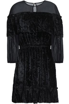 RACHEL ZOE Chiffon-paneled devoré-velvet mini dress