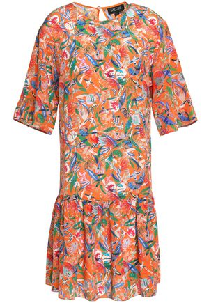 SALONI Pleated printed silk crepe de chine dress