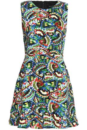 SALONI Pleated printed crepe mini dress