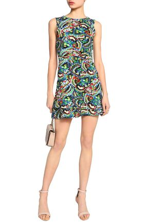 SALONI Pleated printed crepe mini dress