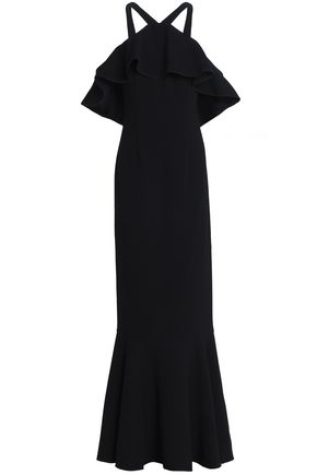 RACHEL ZOE Off-the-shoulder ruffled crepe gown