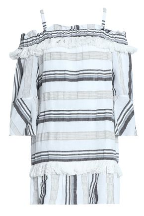 RACHEL ZOE Cold-shoulder striped cotton, linen and ramie-blend mini dress