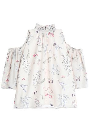 RACHEL ZOE Cold-shoulder floral-print silk crepe de chine blouse