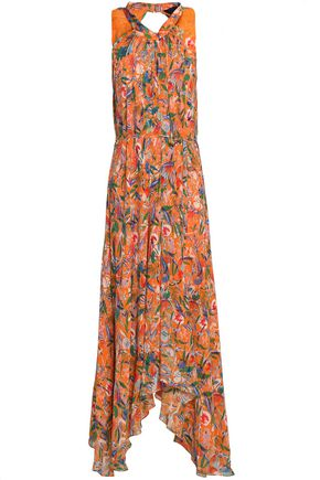 SALONI Pleated floral-print silk crepe de chine midi dress