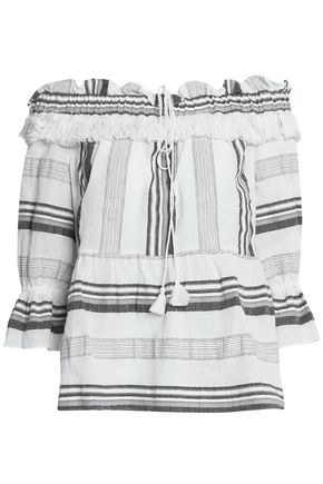 RACHEL ZOE Off-the-shoulder striped cotton, linen and ramie-blend top