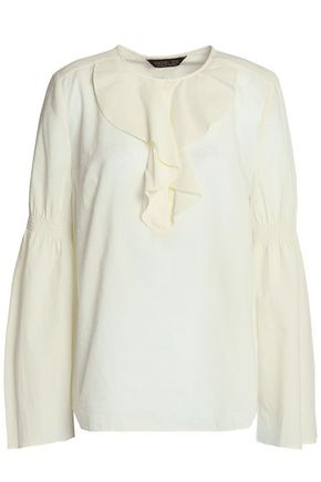 RACHEL ZOE Ruffle-trimmed fil coupé cotton blouse