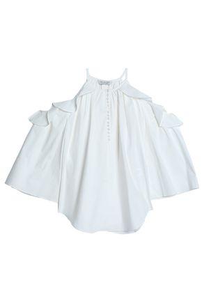 RACHEL ZOE Cold-shoulder ruffle-trimmed cotton-blend poplin blouse