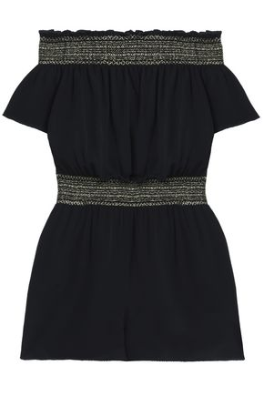 RACHEL ZOE Off-the-shoulder smocked silk-crepe playsuit