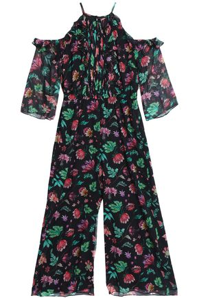 RACHEL ZOE Cold-shoulder floral-print ruffled silk-georgette jumpsuit