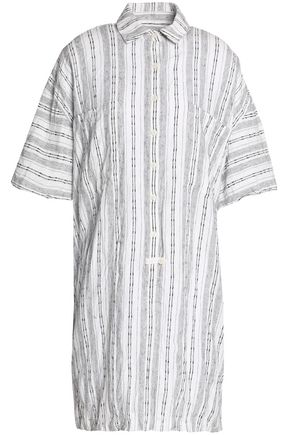 DEREK LAM 10 CROSBY Striped linen and cotton-blend mini shirt dress