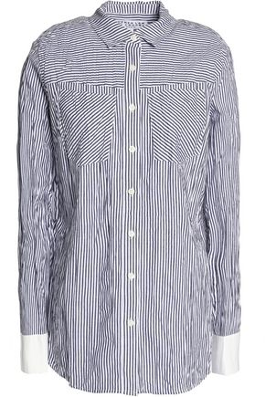 DEREK LAM 10 CROSBY Striped crinkled cotton-poplin shirt