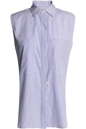 DEREK LAM 10 CROSBY Striped cotton-poplin top