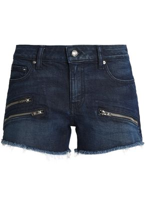 DEREK LAM 10 CROSBY Zip-detailed frayed denim shorts