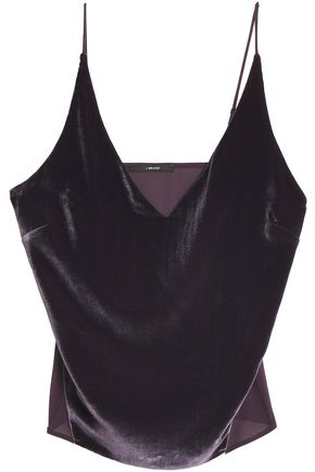 J BRAND Velvet and silk crepe de chine camisole