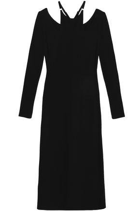 A.L.C. Velvet-trimmed stretch-jersey midi dress