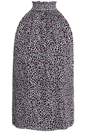 A.L.C. Shirred leopard-print silk top