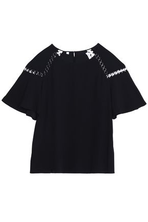 A.L.C. Ring-embellished crepe top