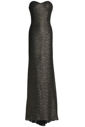 BADGLEY MISCHKA Strapless glittered tulle gown