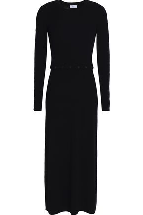 A.L.C. Button-detailed ribbed merino wool-blend midi dress