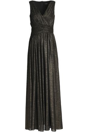 BADGLEY MISCHKA Metallic gathered lamé gown