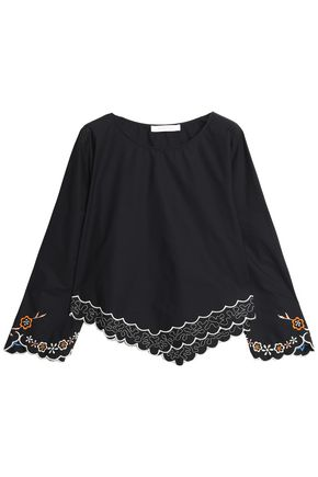 SEE BY CHLOÉ Embroidered cotton-poplin top