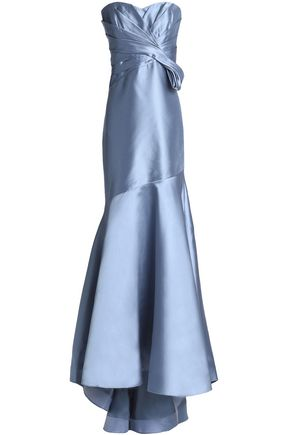BADGLEY MISCHKA Strapless pleated taffeta gown