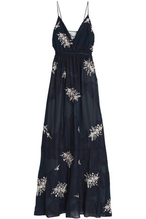 HAUTE HIPPIE Embroidered lace and crepe de chine maxi dress