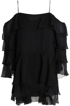 ALICE + OLIVIA Cold-shoulder ruffled silk-chiffon top