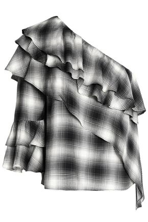 ALICE + OLIVIA Hilaria one-shoulder ruffled checked flannel top