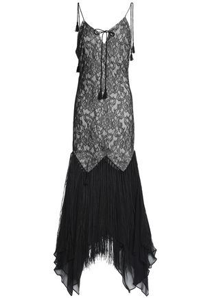 HAUTE HIPPIE Fringe-trimmed corded lace-paneled crepe gown