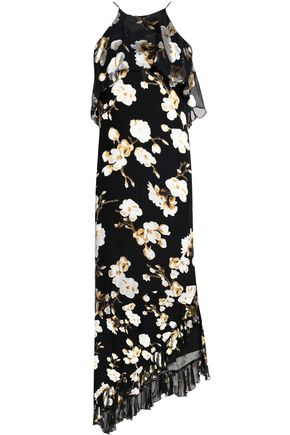 ALICE+OLIVIA Fabiola asymmetric burnout silk-blend satin midi dress
