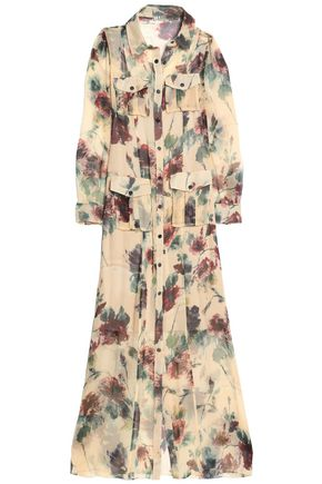 HAUTE HIPPIE Printed silk crepe de chine maxi shirt dress