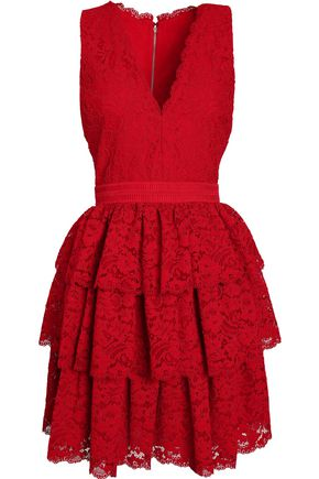 ALICE + OLIVIA Tiered lace dress