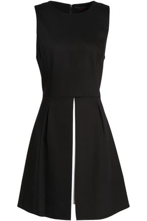 ALICE + OLIVIA Two-tone pleated cotton-blend mini dress